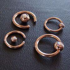 Klemmkugelring Piercing Ring BCR gold rose TITAN Kristall Aurora STUDIO WARE neu