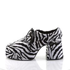 Black White Zebra Platform 70s Pimp Disco Dancer Costume Shoes Mens 8 9 10 11