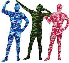 Karneval Militär Ganzkörper-Kostüm Catsuits Camouflage Tarnanzug blau grün pink