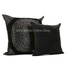 DOUX tissé chenille noir or brillant grand orné cercle motif tissu coussins