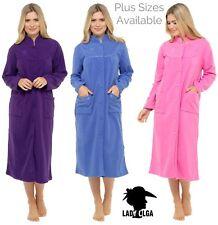 Lady Olga  button through fleece dressing gown robe housecoat 10 to 28