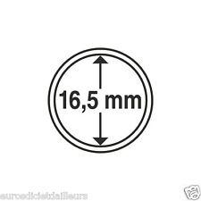 Capsules plastique rondes pour pièces de 1 centimes d'euro diametre 16,5 mm