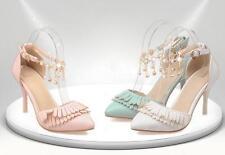 stiletto Scarpe decolte eleganti sposa donna tacco 9 bianco rosa azzurro 8393