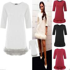 Womens Ladies Celebs 3/4 Sleeve Fur Faux Trim Shift Bodycon Party Dress 8-14