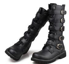 Men Black Riding Moto Militerry Lace Up Knee High Boots Boys Buckle Combat Shoes