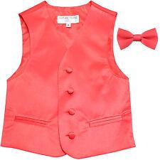 New Boy's Kid's formal Tuxedo Vest Waistcoat & bowtie Coral US size 2T-14