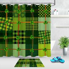 St. Patrick's Day Shamrocks Green Patchwork Shower Curtain Set Bathroom Decor