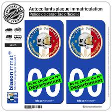 2 Stickers autocollant plaque immatriculation Auto : Sapeurs-Pompiers - Macaron
