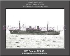 USS Banner APA 60 Personalized Canvas Ship Photo Print Navy Veteran Gift