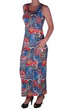 Womens Casual Paisley Pattern Racer Back Print A-Line Maxi Sleeveless Dress