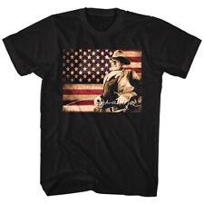 John Wayne T-Shirt New TIN SIGN in 100% Black Cotton in Sizes SM - 5XL