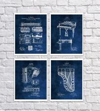Piano Wall Decor set of 4 Unframed Piano Blueprint Wall Art Piano Musician Gifts