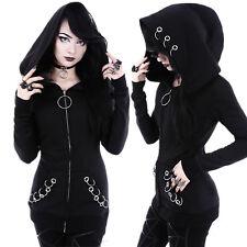 New Women Jacket Punk Black Gothic Hoodies Cosplay Hooded Ladies Tops Sweatshirt