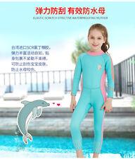 Girls Kids 2.5MM One Piece Long Sleeve Surfing Diving Wetsuit Children Swim Suit