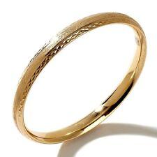 Technibond Diamond Cut Comfort Fit Bangle Bracelet 14K Yellow Gold Clad Silver