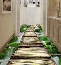 3D ponte legno cascata Pavimento Foto Wallpaper Murales Muro Stampa Decalcomania