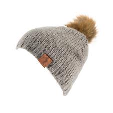 Sombrero De Lana Tejido horze Piel POM-Bobble Beanie caliente señoras polar forrado de venta