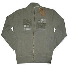 MAGLIA FELPA UOMO M L XL XXL 3XL giacca zip verde slavato cotone Be Board