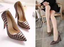 stiletto Scarpe decolte eleganti donna tacco spillo  11 marrone comode 9316