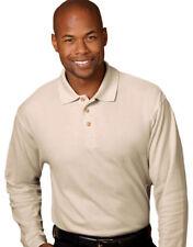 UltraClub Men's Double Needle Long Sleeve Whisper Pique Relaxed Polo Shirt. 8542
