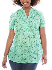 Woman Within shirt blouse plus size 26/28 30/32 34/36 38/40 mint floral cotton