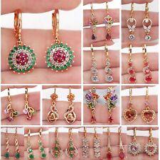 Earrings 18K Gold Filled Drop Dangle Hollow Women Zircon Jewelry Gift wedding