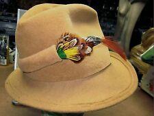 MR. JOHN JR. vtg hat Robin Hood fedora with feathers 1950s or 1960s Piocelle