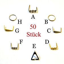 50x Kristall Verbinder Chrom Messing Ring Klammer Verbindungsglied