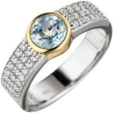 Damen Ring 925 Silber bicolor vergoldet 1 Blautopas hellblau blau mit Zirkonia