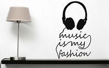Wall Sticker Vinyl Decal Title Music is My Fashion Headphones (n182)