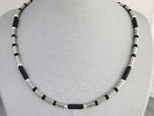 Edelstahl Halskette Collier Damen Herren Onyx schwarz Silber lange kurze 38 - 60