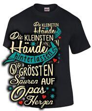 Opa Fun T-Shirt DIE KLEINSTEN HÄNDE AUF OPAS HERZEN Enkel Sohn Tochter Geschenk