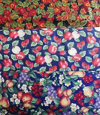 Patchworkstoff (€18/m²) 0,3 m rote Früchte Äpfel Birnen Beeren 1,1-1,4m breit