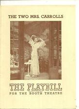 The Two Mrs Carrolls Playbill October 15 1944 Elisabeth Bergner Onslow Stevens