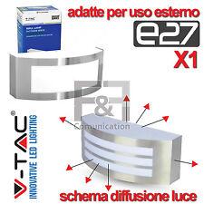 PLAFONIERA APPLIQUE LED ESTERNO MODERNA GRIGLIA ACCIAIO E27 LAMPADA PARETE
