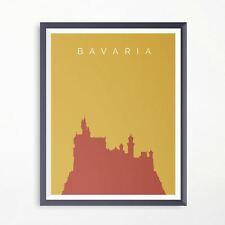 Bavaria Neuschwanstein Castle Minimalistic Travel Poster Print Artwork art deco