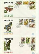 3 LOVELY FDCs FROM SURINAM FAUNA 1983 'BUTTERFLIES'