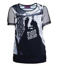 Sempre Piu Chiffon Twin Set Damen Shirt und Top Schwarz Weiß große Größen Shirt