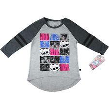 Girls Monster High tee t-shirt top wz 3-quarter sleeve grey size 6-10 xmas new