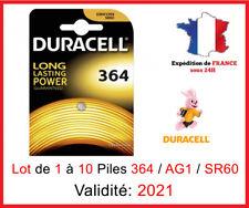 Lot de 1 à 10 Piles 364 - SR621SW - AG1 - SR60 - DURACELL / Montre 1,5V DLC 2021