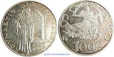 MONACO  ,  100  FRANCS  ARGENT  1997  ,  MALIZIA  ,  SUPERBE À FLEUR DE COIN