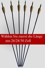 6 Pfeile Fiberglas Längen 26/28/30 Zoll Pfeil für Compound Recurve Bogen Sport
