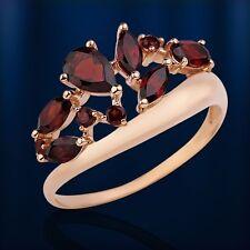 Genuine rose gold 585 /14k GARNET BAND TIARA RING  Розовое золото  2.9 g NWT