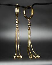 14k Yellow / White Gold Dangle Ball Chain Huggie Earrings