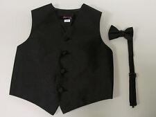 Vest Boys Black Paisley Full Back Bow Tie  Ring Bearer Wedding Party Tuxedo Fun