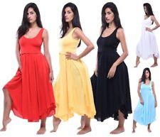 fashion midi 3/4 length dress 2 layer chic sleeveless s m l xl