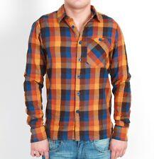 RVLT Revolution Herren Kirk Shirt Hemd orange braun Langarm Dayshirt check Karo
