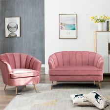 1+2 Sofa Velvet Blush Pink Oyster Scallop Settee Metallic Legs Love Sofas Chair