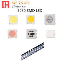 50 100pcs 5050 SMT SMD LED Emitting Diodes White Blue RGB Light Lamp Bulb