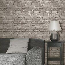 Fine Decor Rustic Brick Panel Effect Wallpaper Silver Grey FD31286